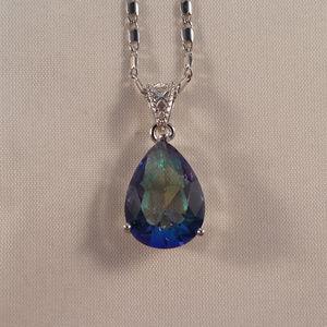 Jewelry - 18K WGF Blue Mystic Topaz Zircon Pendant Necklace